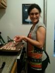 Jen at work w bacon